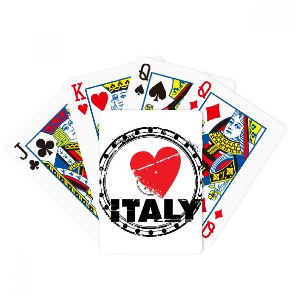 I Love Italy Word Love Heart Circle Poker Playing Cards Tabletop Game Gift