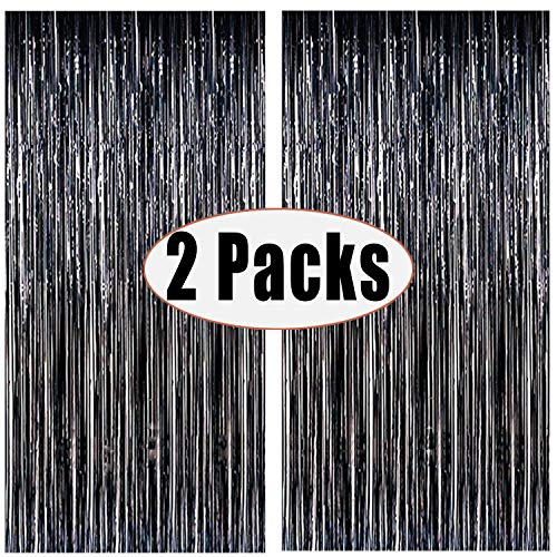 FECEDY 2pcs 3ft x 8ft Black Metallic Tinsel Foil Fringe Curtains Photo Booth Props for Birthday Wedding Engagement Bridal Shower Baby Shower Bachelorette Holiday Celebration Party