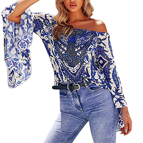 de longues Imprim de d't soie manches paule TAOtTAO en mousseline femme Floral Off bleu pour Top en Bardot Floral mousseline femme fleurs Chemise soie Blouse 4xUp6