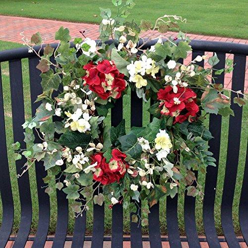 Red Hydrangea Blossom Wreath 24