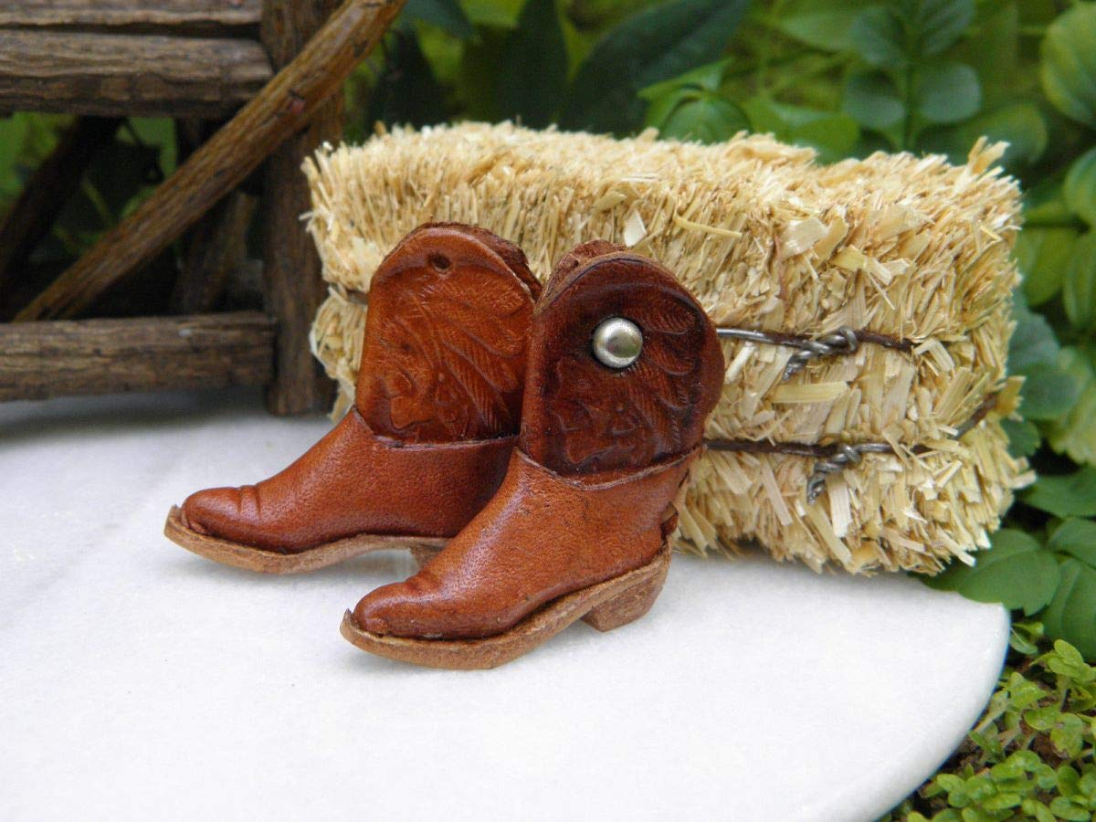 Miniature Dollhouse Fairy Garden Accessories Western Farm Leather Cowboy Boots
