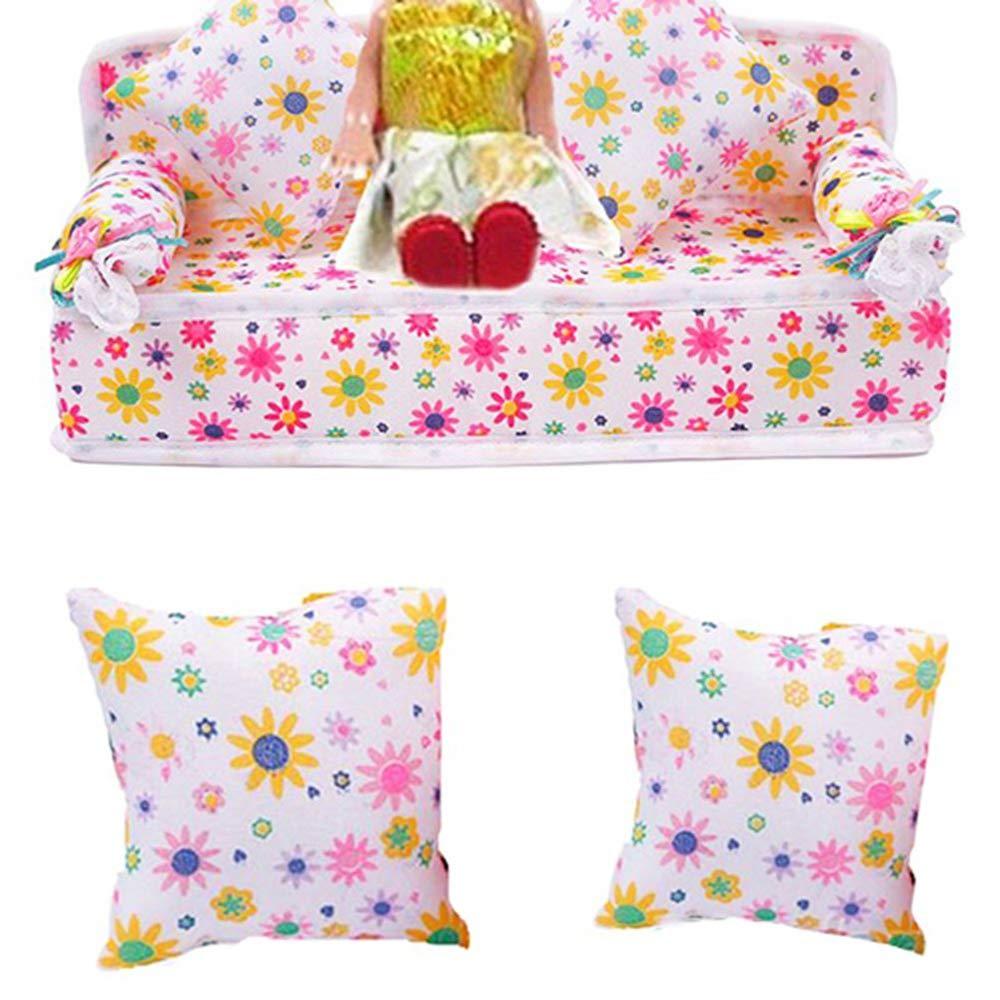 Hilai Mini Muebles Sofá de Flores + 2 Cojines para casa de muñecas Barbie