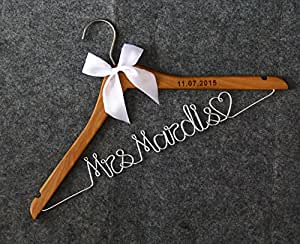 Wood wedding hangers lser engraved custom for Wedding dress hanger amazon