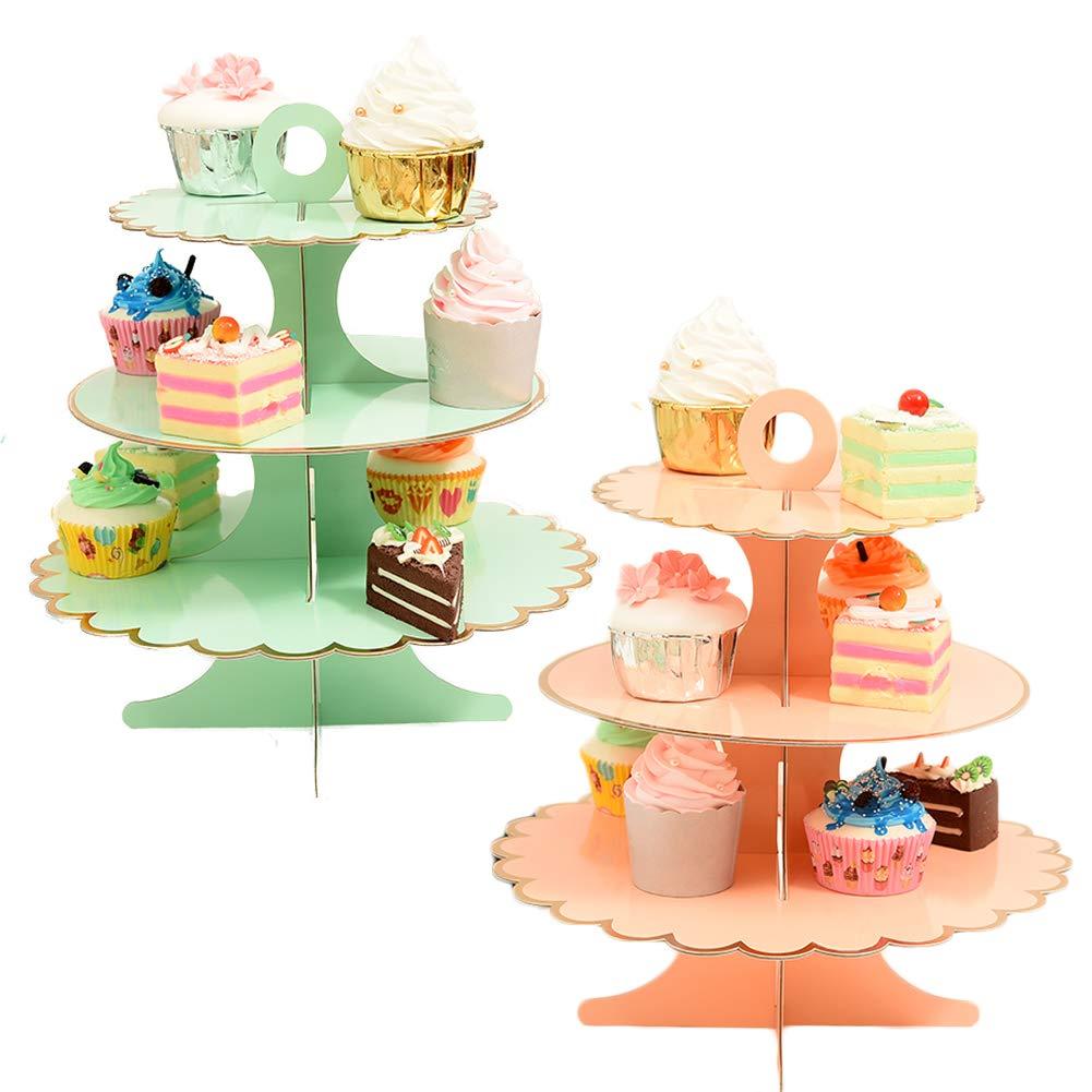 KWJOY 3 Tier Round Wedding Party Tree Tower Paper Cupcake Display Stand 2 pcs