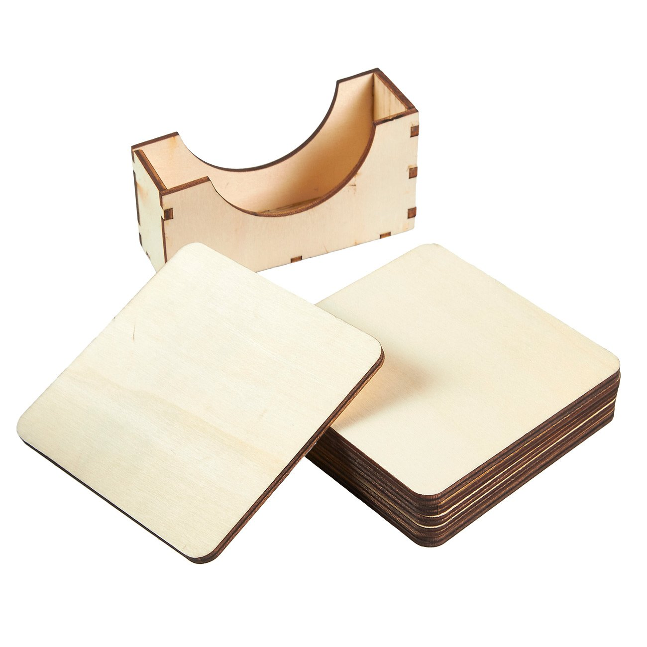 Wood Coasters - 6-Pack Square Wooden Drink Coasters with Holder, Unfinished Wood Cup Coasters for Home Kitchen, Office Desk, 3.875 x 3.875 x 0.188 Inches