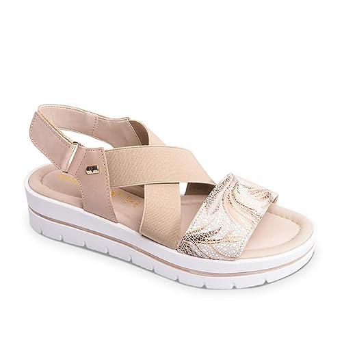 VALLEVERDE Sandalo Scarpe Donna Pelle Beige POLN2JFba