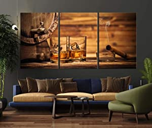 IOIP Wall Art 3 Pieces Framed Art Wall Decor Whiskey Scotch for Home Decor Living Room Bedroom Office Stretched and Framed Ready to Hang