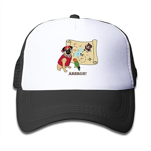 6723f20e539 Amazon.com  DIYoDGG Kids White Pirate Pug Trucker Mesh Baseball Cap Hat  Trucker Hats Pink  Clothing