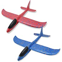 2 Packs Foam Model Airplanes, FOONEE 16.5 inch Large Hand Throwing Foam Glider Plane DIY Aircraft Toy Plane with Reversal Stunt, Perfect Outdoor Toys Gift for Over 3 Years Old Kids Boy Girls