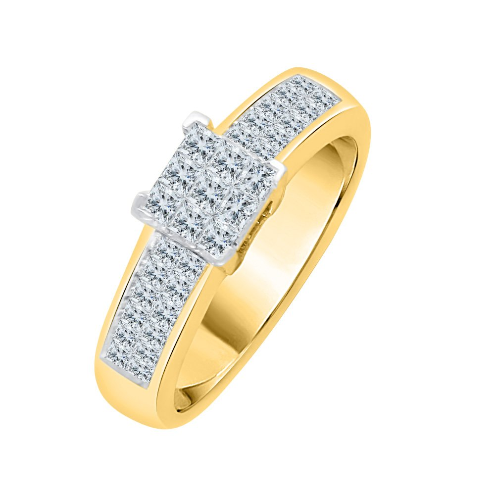 Princess Cut Diamond Anniversary Ring in 14K Yellow Gold (3/4 cttw) (GH-Color, VSSI-Clarity) (Size-12.5)
