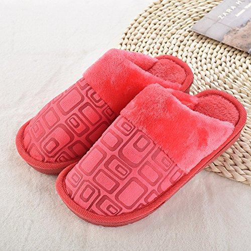 Herbst und Winter zu Hause Liebhaber Baumwolle Hausschuhe Winter Paar Baumwolle Hausschuhe Box Mode Hausschuhe Hausschuhe,D,44-45