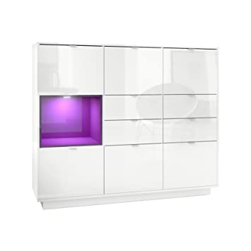 Vladon Highboard Sideboard Metro V2 Carcass In White High Gloss Front In White High Gloss An Insert In Raspberry High Gloss Incl Led Lighting