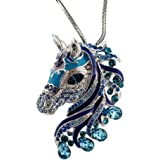 """DianaL Boutique Beautiful Horse 3D Pendant Necklace Enamel Crystals 24"""" Chain Gift Boxed Fashion Jewelry"""