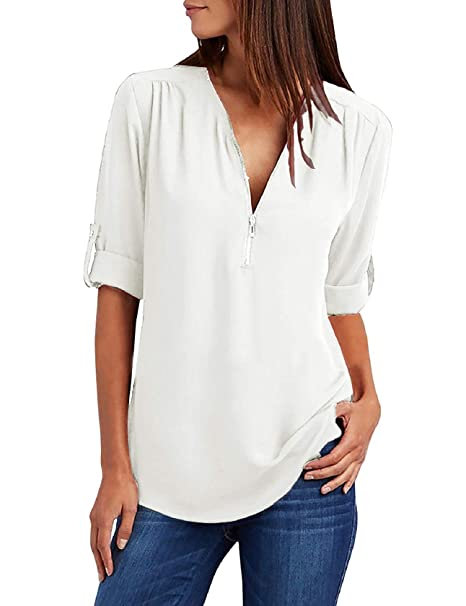 6e2fc5549184 Tuopuda Camicette di Magliette da Donna Camicia di Chiffon Allentata  T-Shirt con Scollo a V Traspirante Maglietta Manica Lunga Bluse Scollo  Pullover Puro ...