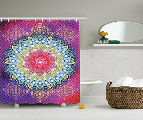 Ambesonne Mandala Shower Curtain Set Psychedelic Decor by,