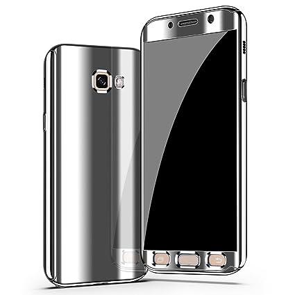 9f2d2499718 Galaxy A5 2017 Funda, CHENXI Plating Metálico Chapado Espejo Estuche  Protector 360 Grados protección Completa