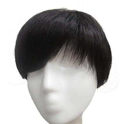Remeehi Peluca de pelo humano corto y recto para mujeres y hombres, pelo hecho a