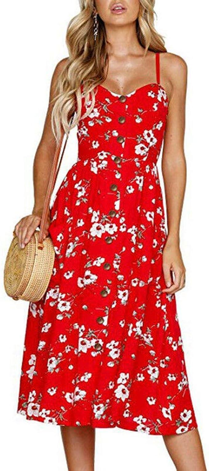 Women BOHO Long Maxi Evening Cocktail Party Sleeveless Beach Dress Sundress