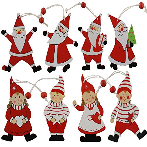 WEWILL 4-Inch Wooden Christmas Ornaments Santa ans Elf Tree Hanging Decoration -