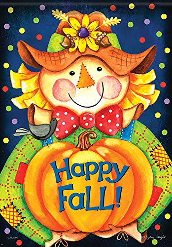 (Happy Fall Scarecrow House Flag Double Sided Decorative Banner 28