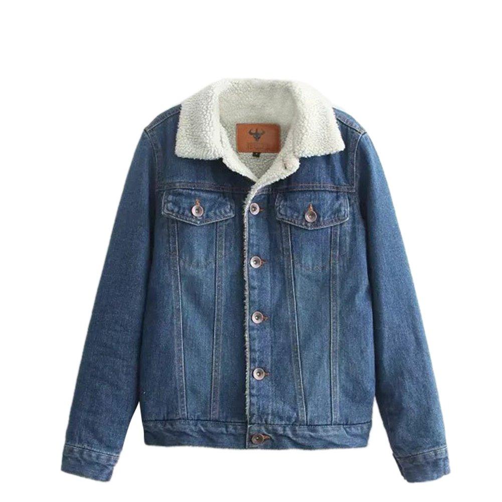 iShine Women's Spring Autumn Winter Boyfriend Denim Jackets Long Sleeve Warm Sherpa Collar Fleece Lined Jean Coats Outwear