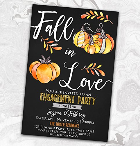 (Fall In Love Engagement Party Invitation - Autumn Bridal Shower Invite - Wedding Rehearsal -)
