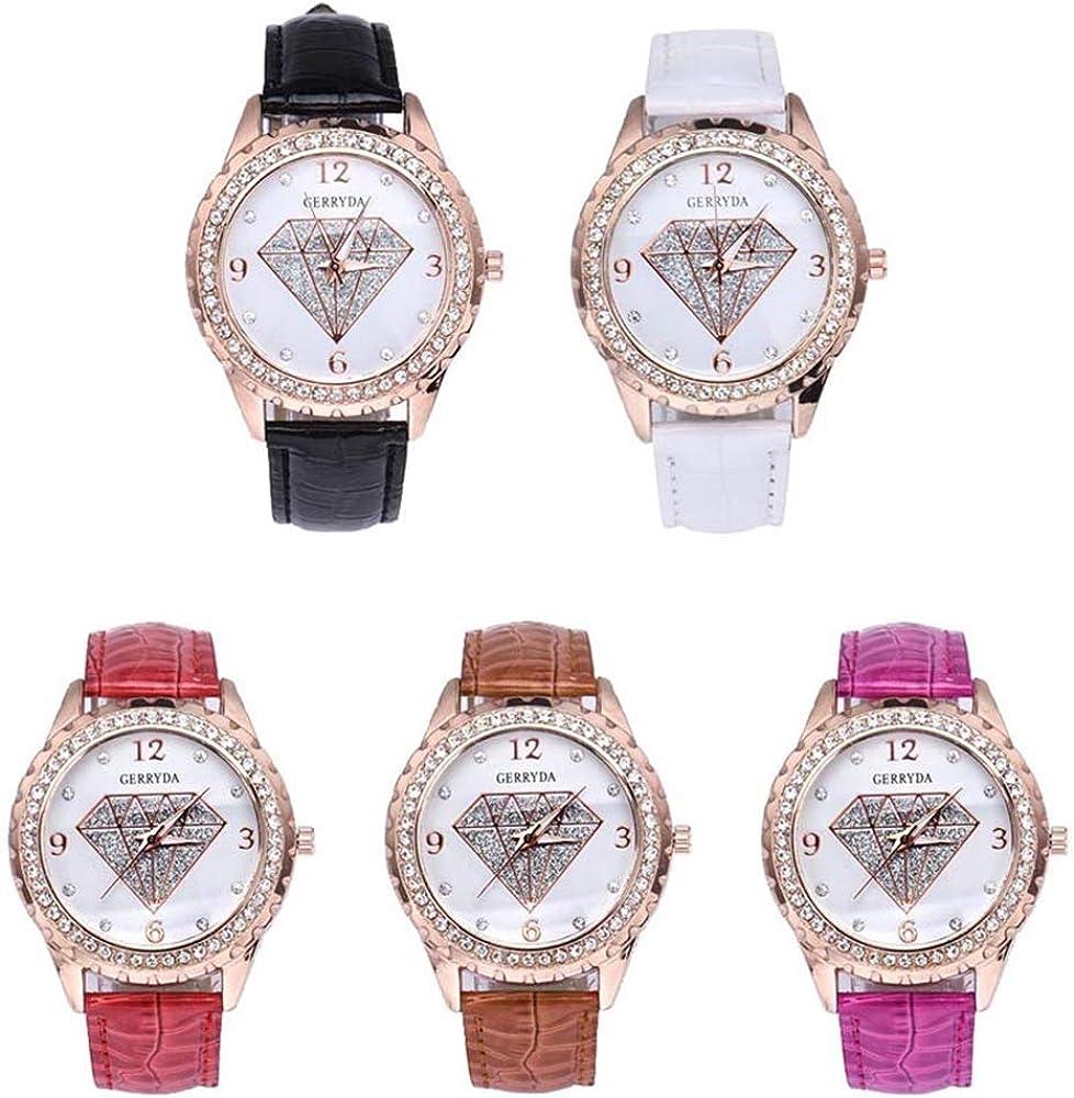 Montre pour Dames Montre pour Dames Montre pour Dames Femmes Contracté Mode Montre à Quartz Nouvelle Marque Montre pour Dames Montre de en Cristal de Diamant Montres Bon hé Marron