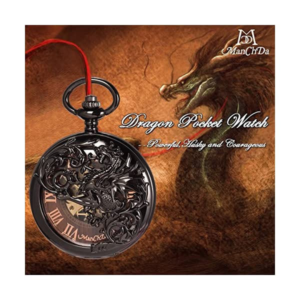 ManChDa Mens Antique Skeleton Mechanical Pocket Watch with Chain- Dragon Hollow Hunter 4