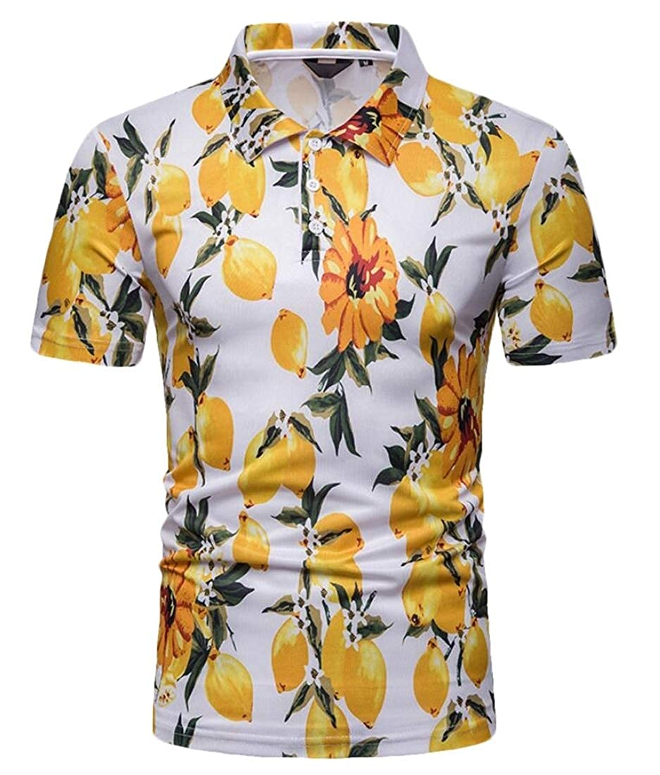 Generic Mens Hipster Mango Print Short Sleeve Custom Fit T-Shirt Polo Shirt