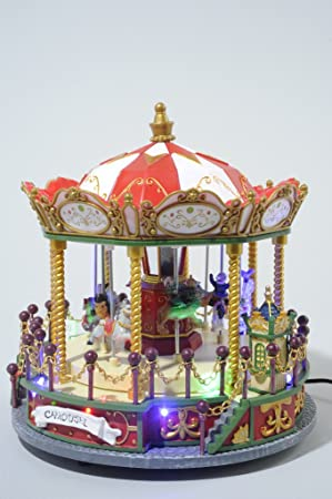 kaemingk led christmas carousel decoration 23cm x 23cm x 25cm