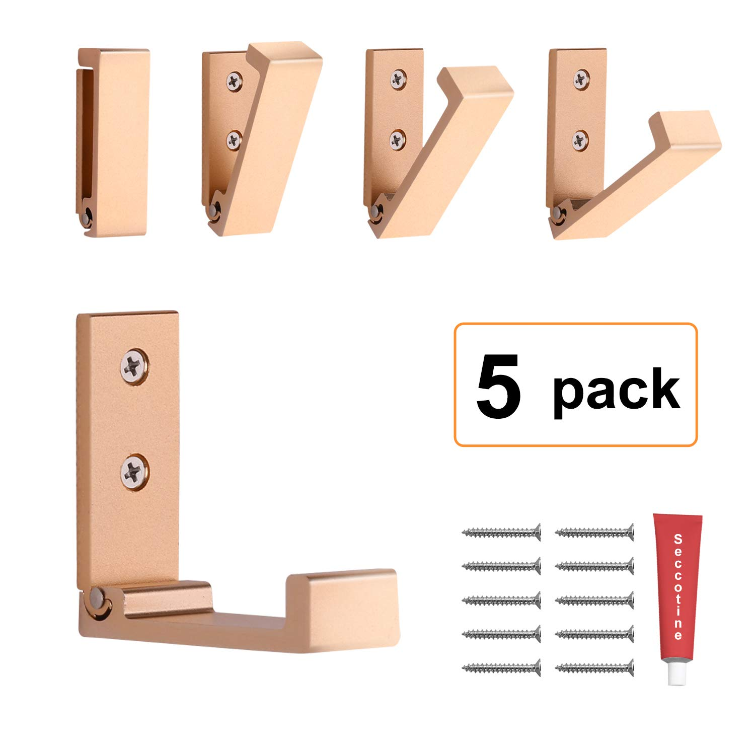Foldable Adhesive Hooks,Heavy Duty Wall Hooks Stainless Steel Ultra Strong Waterproof Hanger for Robe, Coat, Towel, Keys, Bags, Home, Kitchen, Bathroom (Set of 5) (Gold)