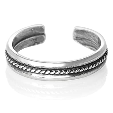 Sterling Silver Toe Ring with twist design - Adjustable size - Gift Boxed. 0983 QPNSu2jw