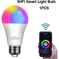 foco LED inteligente que funciona con Alexa y Google Home A19 E26 9 W 806 lm multicolor 2,4 GHz WiFi regulable, bombillas equivalentes a RGB que cambian de color, Moderno, 1 paquete
