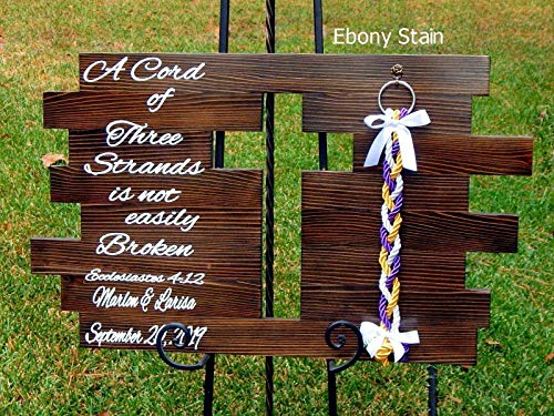 A Cord of Three Strands Rustic Cross, Personalized Unity Wedding Board With Braids Custom Colors 32x20