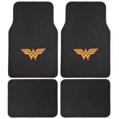 BDK 4 Piece Wonder Woman Super Hero Carpet Floor Mats - Warner Brothers DC Comics Licensed Full Mat Set for Car Truck SUV - All Weather Protection: Automotive
