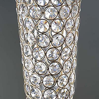 "Efavormart Gold 24"" Tall Elegant Tall Hurricane Beaded Crystal Vase Wedding Centerpiece"