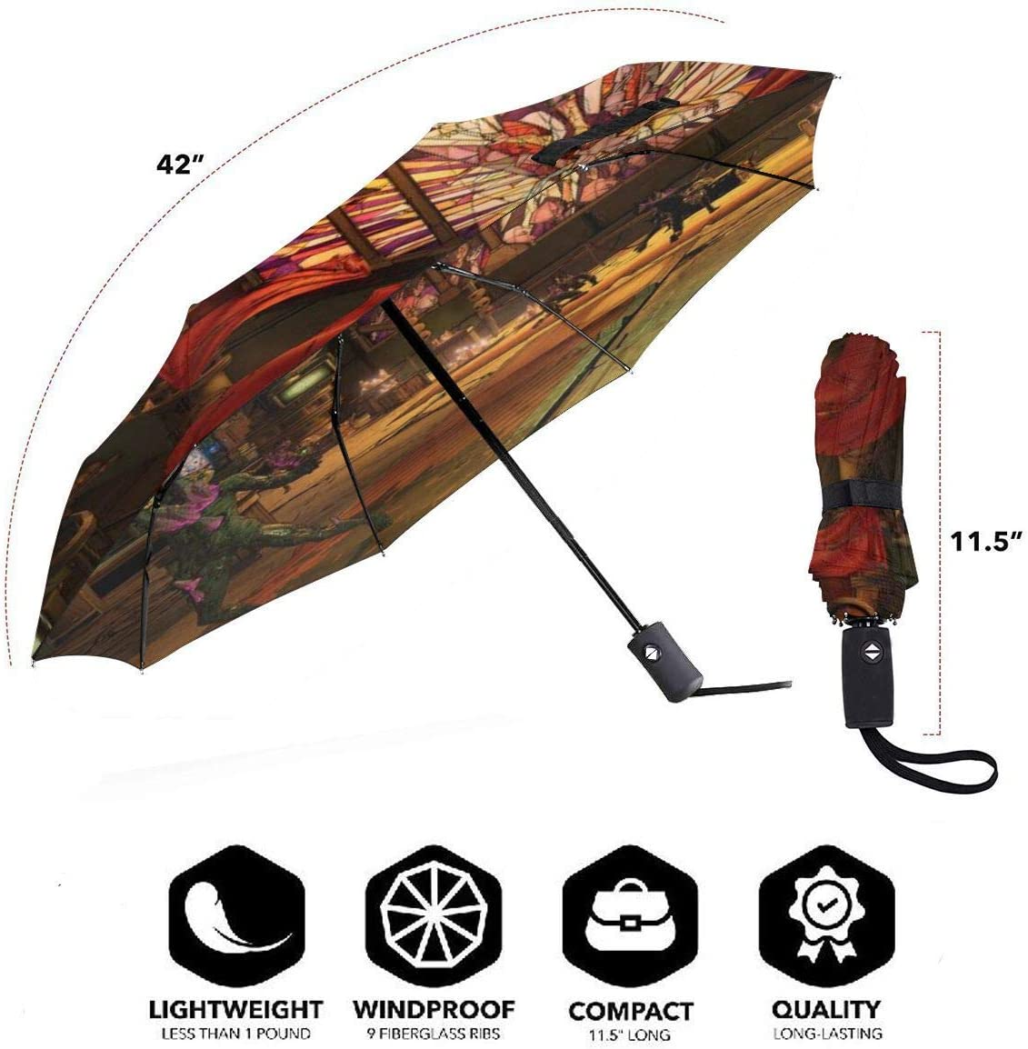 Borderlands 3 Candle 3D Pattern PG Cloth Lightweight Foldable Tri-fold Umbrealla For Rain Sunshade Anti-UV,Qucik-dry Wind Resistance Automatic Umbrellas