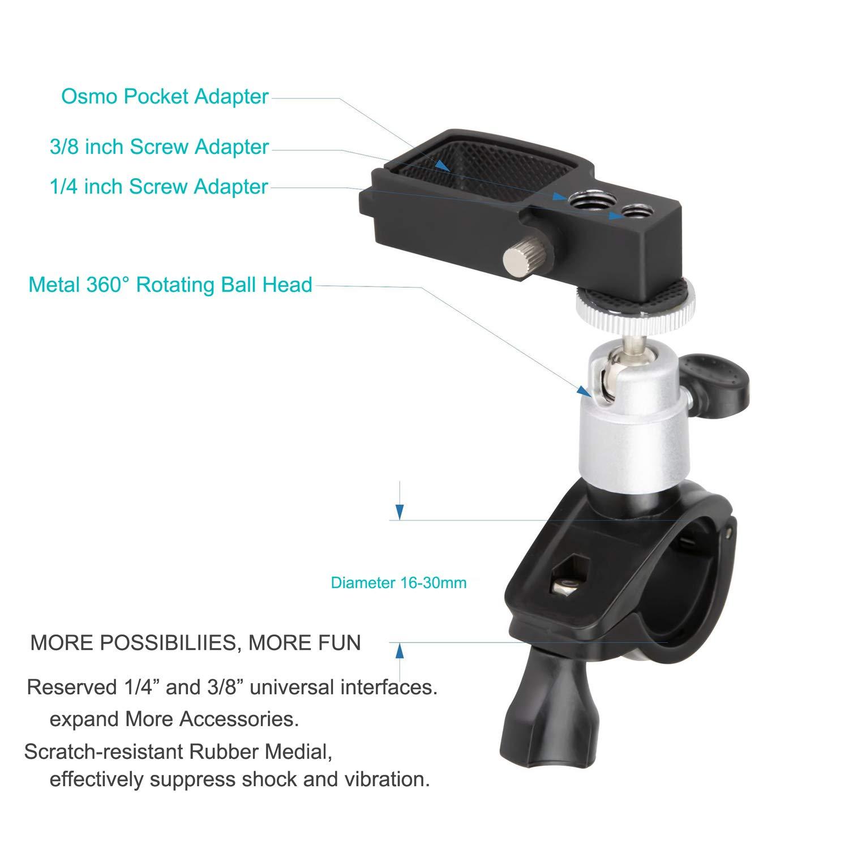 Rantow Rotazione a 360 /° Morsetto per bicicletta da bicicletta Supporto per staffa manubrio Stabilizzatori per porta telecamera portatili per DJI Osmo Pocket