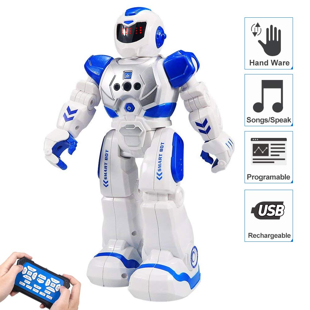 Flyglobal Programmable RC Robot for Kids, Remote Control Robot Toys with Infrared Controller, Singing Dancing Intelligent Gesture Sensing Smart Robot Kit for Boys Girls Blue