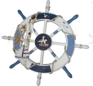 Gesteh Nautical Beach Wooden Boat Ship Steering Wheel Fishing Net Shell Home Wall Decor (18 inches)