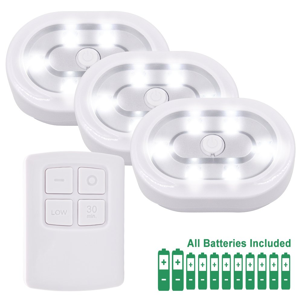 Wireless Remote Control LED Under Cabinet Puck Lights Battery Powered LED Night Lights Controlled with RF Remote, Dimmable and Timer Functions Strong Magnets, 3 Lamps and 1 Remote by Enuotek