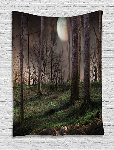 Ambesonne Gothic Decor Collection, Dark Night in the Forest with Full Moon Horror Theme Grunge Style Halloween Photo, Bedroom Living Room Dorm Wall Hanging Tapestry, Brown Green -