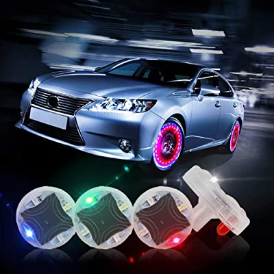 CARLITS Car Tire Wheel Lights, 4pcs Car Wheel Tire Air Valve, Hub Lamp Cap Light with Motion Sensors Colorful LED Tire Light Gas Nozzle,for Car Bicycle Motorcycles Accessories: Automotive