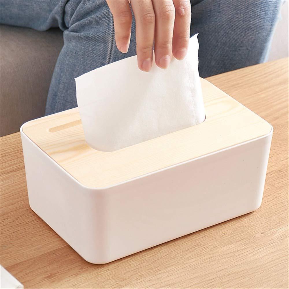 ZUEN Bo/îte /À Mouchoirs en Bois Couvercle Support De Bo/îte De Tissu Plastique Bo/îte De Rangement De Cuisine Box Office Entreposage Domestique Table Bo/îte De Mouchoirs