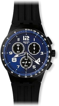 Swatch Reloj Cronógrafo de Cuarzo Unisex con Correa de Silicona - SUSB402: Amazon.es: Relojes