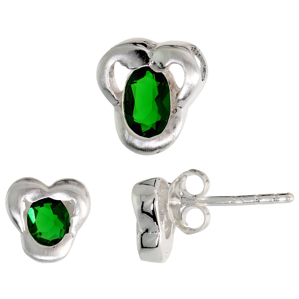 Sterling Silver Oval Cut CZ Trefoil Stud Earrings /& Pendant Set Assorted colors for women Brushed finish