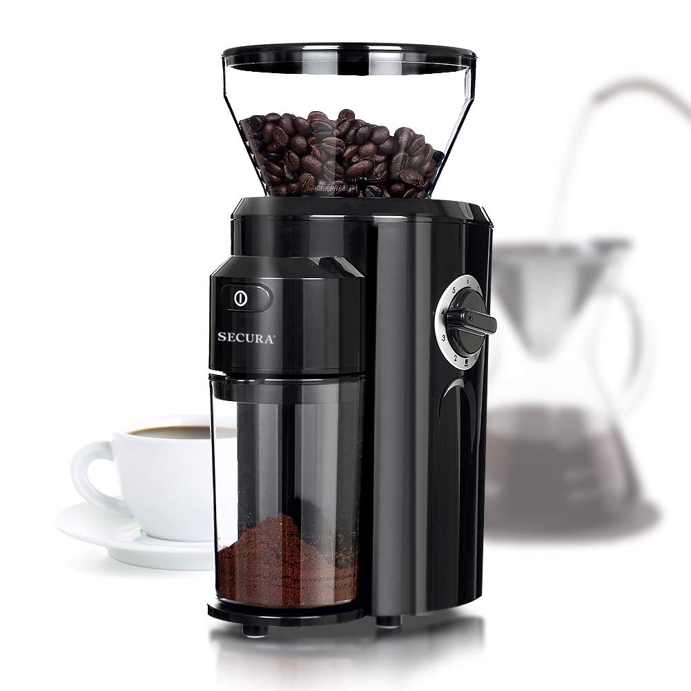 Secura Automatic Electric Conical Burr Coffee Grinder CBG-018 Adjustable Cup Size, 18 Fine - Coarse Grind Size Settings