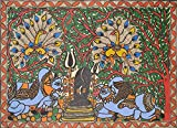 Veneration of Shiva Linga by Nandi - Madhubani Painting on Hand Made Paper Treated with Cow Dung