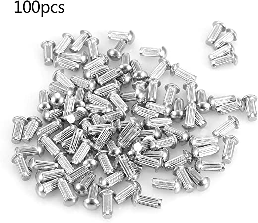 M-4 Round Head Knurled Shank Solid Rivets Stainless Steel Assortment Set Practical Durable M-412