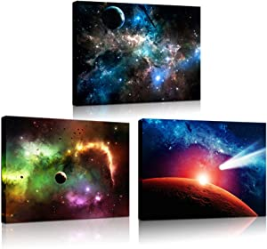 Biuteawal - Astronomy Wall Art Galaxy Nebula Starry Cosmic Picture Painting Canvas Arotwork Universe Stars Outer Space Wall Art for Home Office Nursery Decoration Framed Ready to Hang